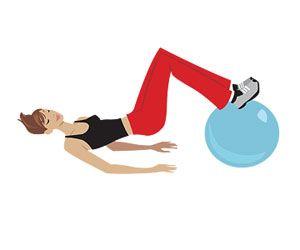 5 adımda seksi bacaklar  1- Sırtüstü yere uzanın. Bacaklarınızı pilates topuna veya bir iskemleye şekildeki gibi dayayın. Ellerinizi avuçlarınız yere değecek şekilde yere koyun. Bu şekilde kalçalarınızı mümkün olduğunca sıkarak, bacaklarınızı hafifçe öne arkaya hareket ettirin. Egzersizi her iki bacağınız için en az 30 kez tekrarlayın.